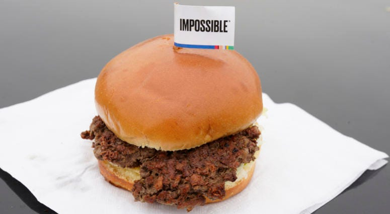 This Jan. 11, 2019, file photo shows the Impossible Burger, a plant-based burger containing wheat protein, coconut oil and potato protein among it's ingredients in Bellevue, Neb.