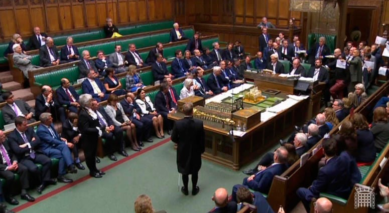 British lawmakers stage a protest in the House of Commons before prorogation of Parliament, in London, Tuesday Sept. 10, 2019.
