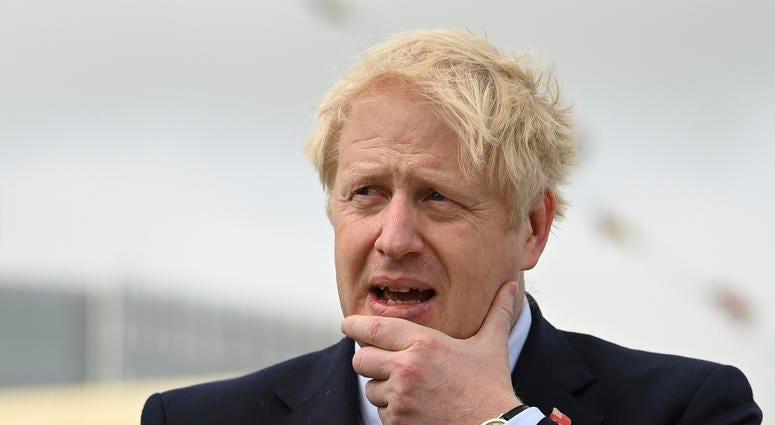 Britain's Prime Minister Boris Johnson visits the NLV Pharos, a lighthouse tender moored on the river Thames, to mark London International Shipping Week in London, Thursday, Sept. 12, 2019.