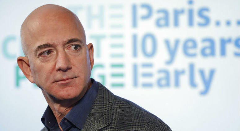 Amazon CEO Jeff Bezos speaks during his news conference.