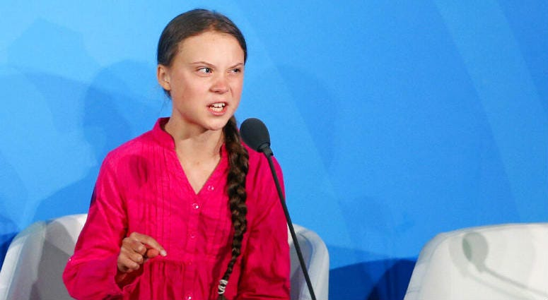Environmental activist Greta Thunberg, of Sweden, addresses the Climate Action Summit in the United Nations General Assembly.