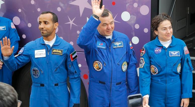 From left, United Arab Emirates astronaut Hazza Al Mansouri, Russian cosmonaut Oleg Skripochka, U.S. astronaut Jessica Meir, members of the main crew to the International Space Station.