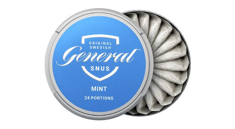 """Swedish Match """"General Snus"""" pouched smokeless tobacco product."""
