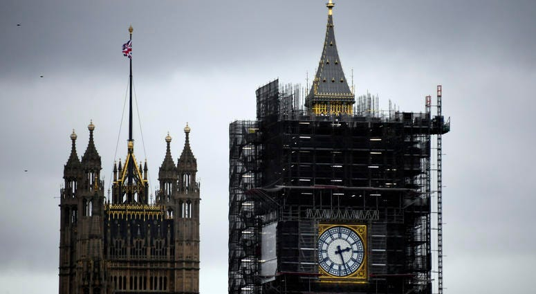 "A view of the Victoria Tower, left, and the Elizabeth Tower, which holds the bell known as ""Big Ben,"" in London, Friday, Nov. 1, 2019."