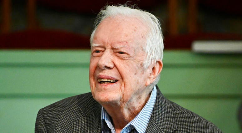 Former President Jimmy Carter teaches Sunday school at Maranatha Baptist Church in Plains, Ga.