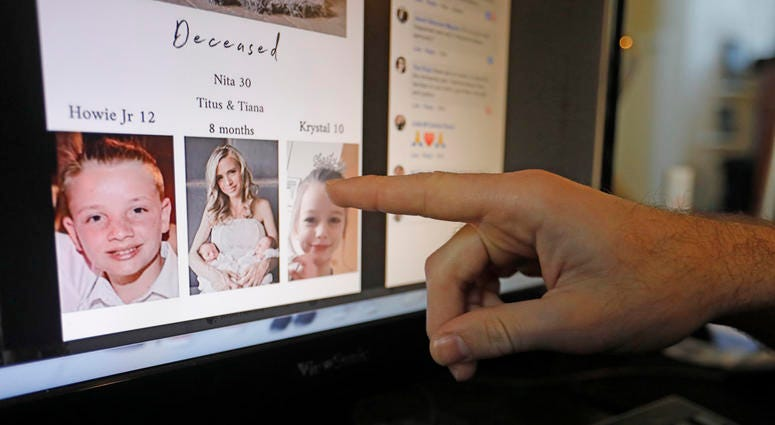 Austin Cloes points to a photo of relatives Rhonita Miller and her family, who were killed in Mexico, on a computer screen Tuesday, Nov. 5, 2019, in Herriman, Utah.