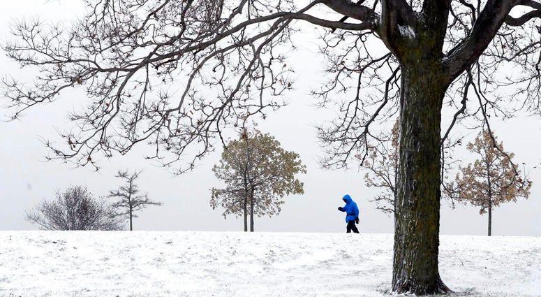 A lone hiker navigates the 31st street beach bike trail in a stiff wind and blowing snow off Lake Michigan.