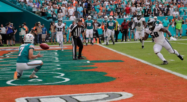 Miami Dolphins kicker Jason Sanders (7) catches a touchdown pass, during the first half at an NFL football game against the Philadelphia Eagles, Sunday, Dec. 1, 2019, in Miami Gardens, Fla. ()