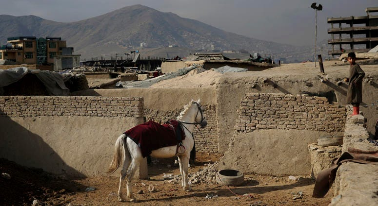 An Afghan boy stands on a wall near a horse tied up at a camp for internally displaced people in Kabul, Afghanistan, Monday, Dec. 9, 2019.