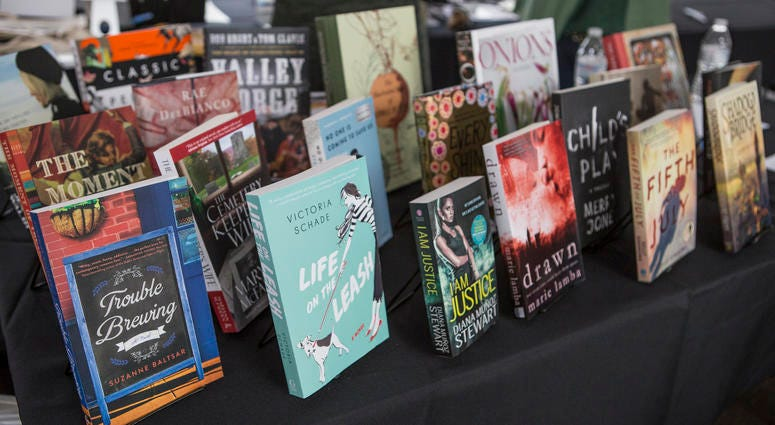 A selection of books on display.