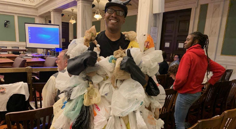 A man who supports a plastic bag ban at Philadelphia City Council.
