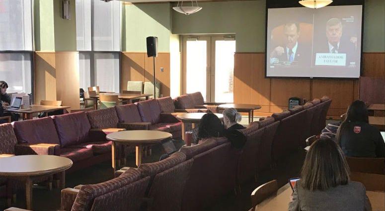 An impeachment hearing watch part at Rutgers University-Camden law school.