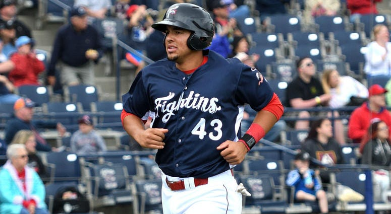 Darick Hall is five for 18 with a homer and three RBI in four games since his promotion to Double-A Reading.