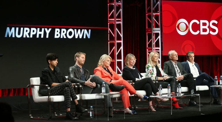 "From left: Actor Nik Dodani, actor Jake McDorman, actress Candice Bergen, executive producer Diane English, actress Faith Ford, actor Joe Regalbuto, and actor Grant Shaud of the television show ""Murphy Brown"" speak on Aug. 5, 2018."
