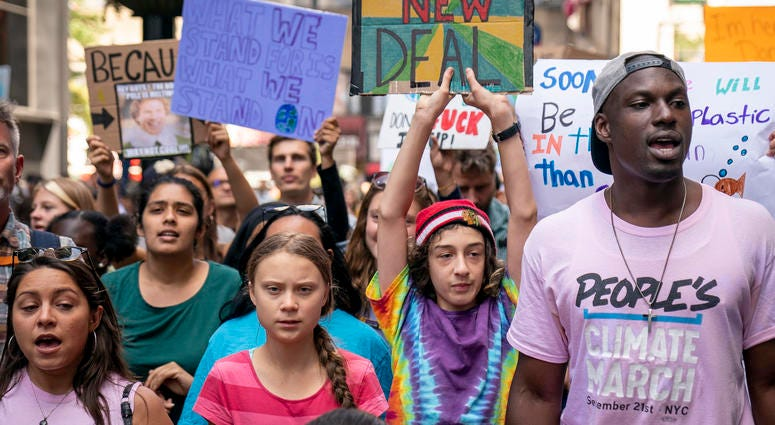 Led by Swedish climate activist Greta Thunberg, young activists and their supporters rally for action on climate change on September 20, 2019 in New York City.