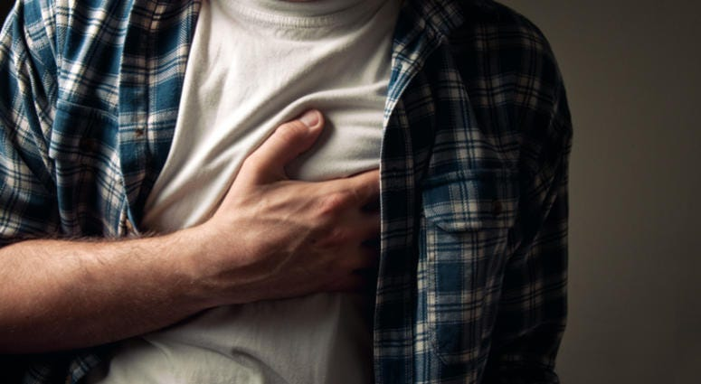Man with chest pain.