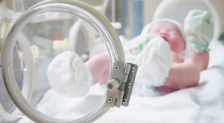 Newborn baby inside incubator in hospital post delivery room.