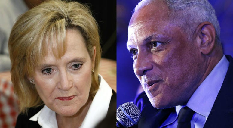 Left: Sen. Cindy Hyde-Smith, R-Miss.; Right: democratic challenger Mike Espy