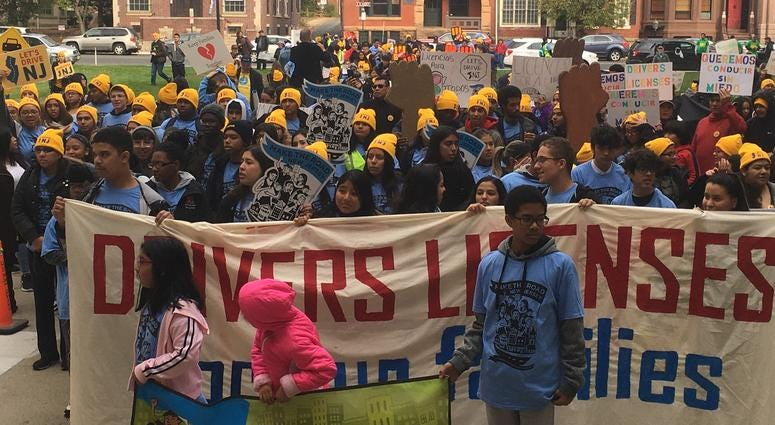 — Some 400 people rallied outside the Capitol building in Trenton, urging state legislators to act on a bill that would give driver's licenses to undocumented immigrants in New Jersey.
