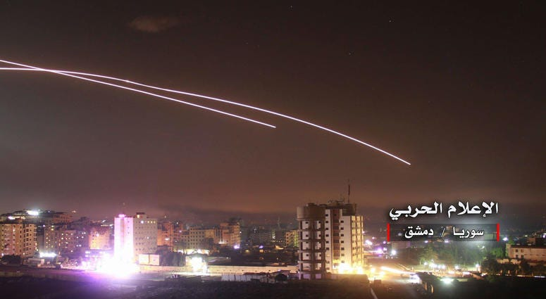 Syrian military released still images showing their air defenses confronting missiles fired by the Israeli army towards Syria.