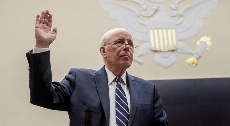 Former White House counsel for the Nixon administration John Dean is sworn in before a House Judiciary Committee hearing on the Mueller Report on Capitol Hill in Washington, Monday, June 10, 2019.