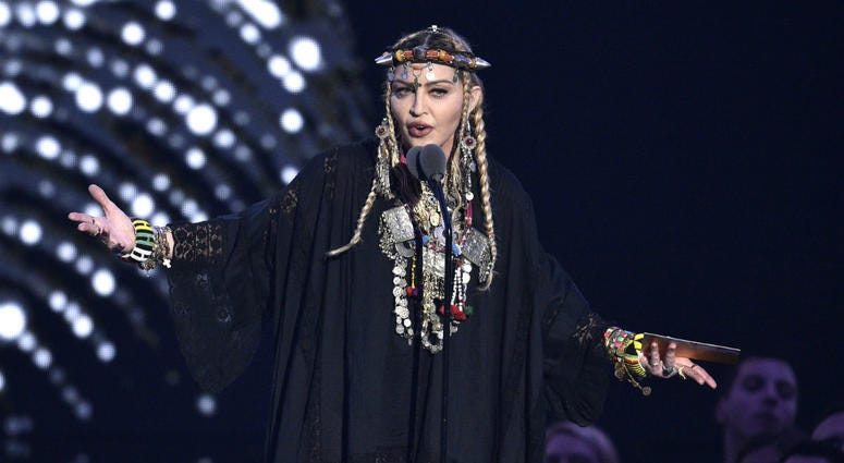 Madonna presents a tribute to Aretha Franklin at the MTV Video Music Awards at Radio City Music Hall on Monday, Aug. 20, 2018, in New York.