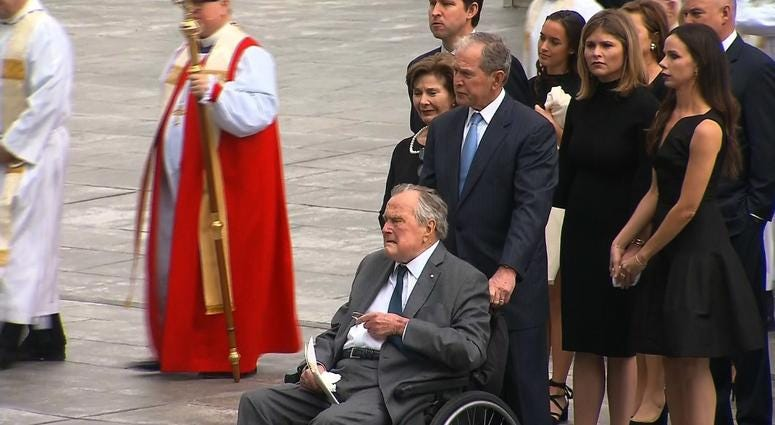 Former President George W. Bush, son of Barbara Bush, is seen here with his father former President George H.W. Bush, at his mother's funeral. Barbara Bush died on April 17.