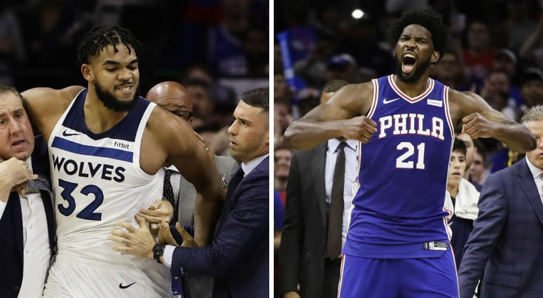 From left: Minnesota Timberwolves' Karl-Anthony Towns and Philadelphia 76ers' Joel Embiid