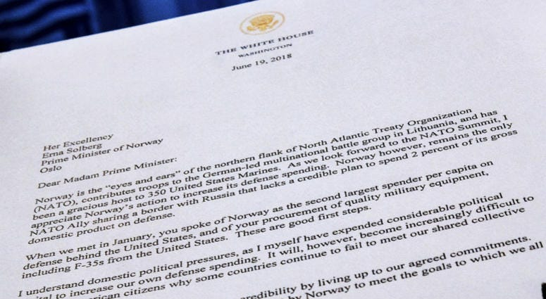 A copy of a letter sent to the Prime Minister Erna Solberg of Norway by U.S. President Donald Trump demanding an increase in Norway's NATO spending is photographed in Washington, Tuesday, July 3, 2018.