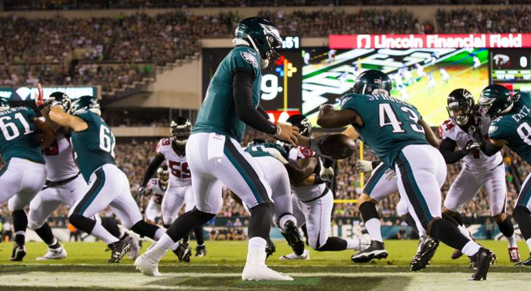 Philadelphia Eagles quarterback Nick Foles (9) hands off to running back Darren Sproles (43) during the first quarter against the Atlanta Falcons at Lincoln Financial Field Sept. 6, 2018.
