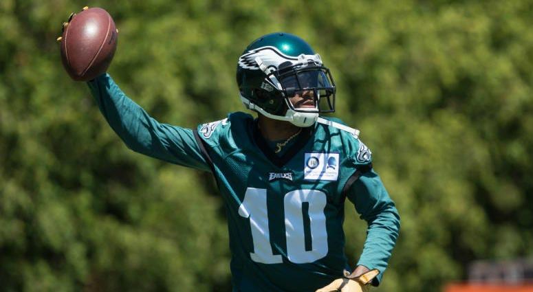 Jun 11, 2019; Philadelphia, PA, USA; Philadelphia Eagles wide receiver DeSean Jackson (10) tosses the ball during Minicamp at Novacare Complex.