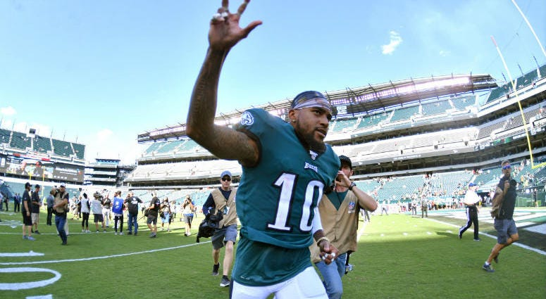 Philadelphia Eagles wide receiver DeSean Jackson (10) runs off the field.