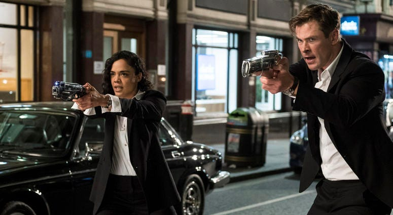 """This image released by Sony Pictures shows Tessa Thompson and Chris Hemsworth in a scene from Columbia Pictures' """"Men in Black: International."""""""