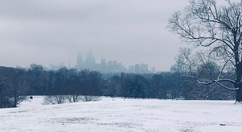 An ominous Philadelphia skyline as seen from Belmont Plateau in Fairmount Park.