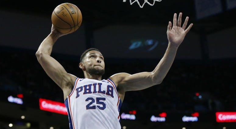 Philadelphia 76ers guard Ben Simmons goes up for a dunk during the first half of the team's NBA basketball game against the Oklahoma City Thunder on Thursday, Feb. 28, 2019, in Oklahoma City.
