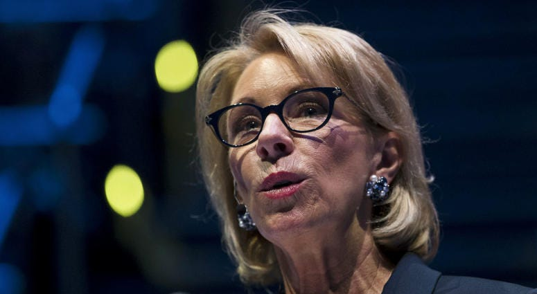In this Sept. 17, 2018 photo, Education Secretary Betsy DeVos speaks during a student town hall at National Constitution Center in Philadelphia.