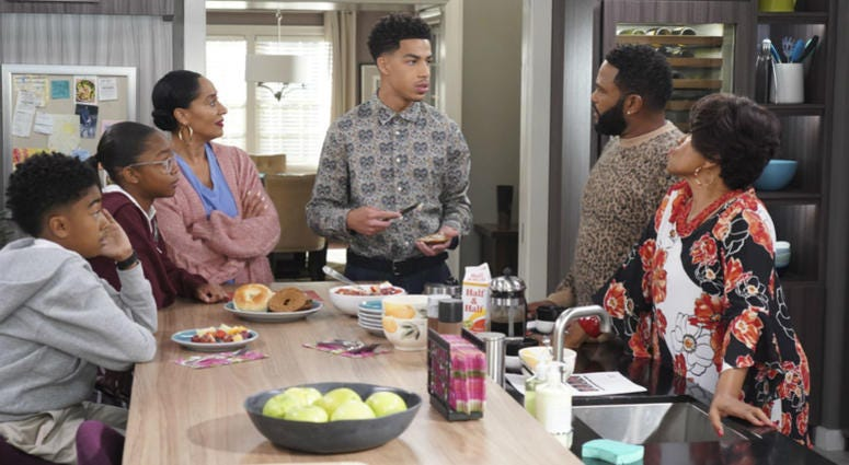 "This image released by ABC shows, from left, Miles Brown, Marsai Martin, Tracee Ellis Ross, Marcus Scribner, Anthony Anderson and Jenifer Lewis in a scene from ""black-ish."""