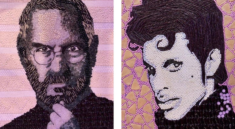 Details of candy portraits of Steve Jobs and Prince.