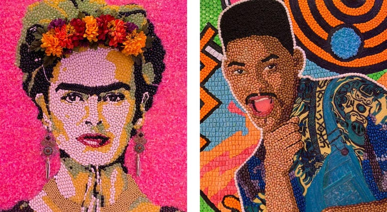 Details of candy portraits of Frida Kahlo and Will Smith.