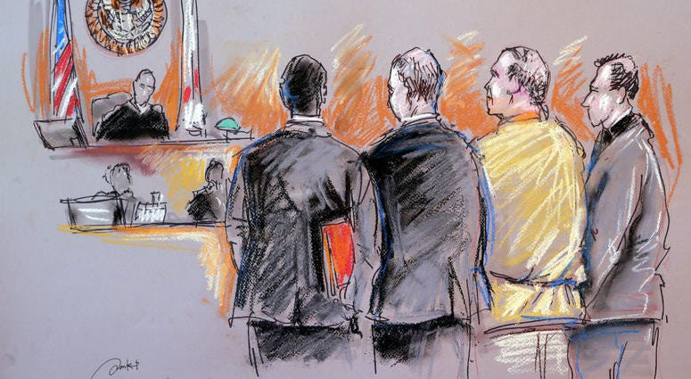 In this courtroom sketch, Cesar Sayoc, second from right, appears in federal court, Monday, Oct. 29, 2018, in Miami.
