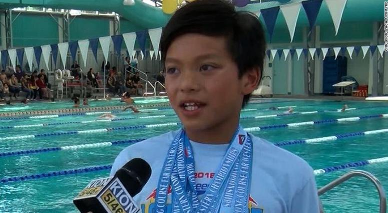 """Clark Kent, a 10-year-old from California nicknamed """"Superman,"""" is making headlines for beating retired Olympic swimmer Michael Phelps' record at the Far West International Championship."""