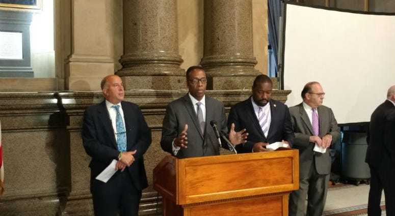 City Council President Darrell Clarke and other council members announce an audit of the city's tax assessment agency.