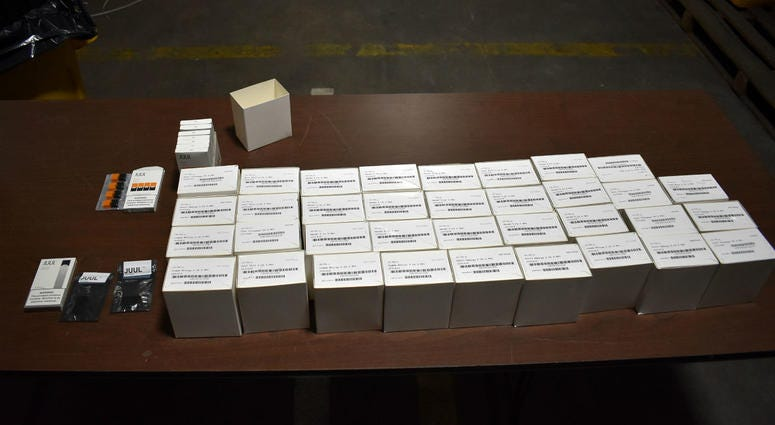 Federal customs agents in Philadelphia intercepted more than 1,150 counterfeit e-cigarette Juul pods and three chargers.