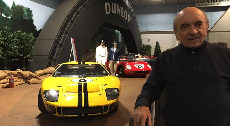 Dr. Fred Simeone, founder of the Simeone Foundation Automotive Museum, with two of the cars driven in the 1966 24 Hours of Le Mans endurance race.