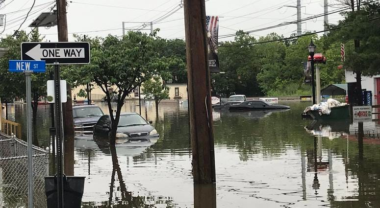 Broadway in Westville, NJ is flooded. Crews here to make sure people are safe.