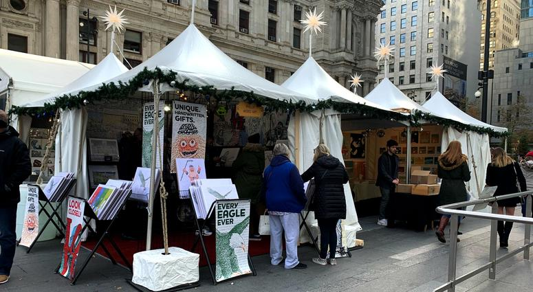 Some of the shops at the Made in Philadelphia Holiday Market in Dilworth Park.