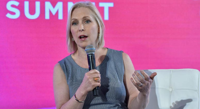 "New York State Senator Kirsten Gillibrand speaks at the 14th Annual ""#BlogHer18"" Creators Summit at Pier 17 in New York, NY, on August 9, 2018."