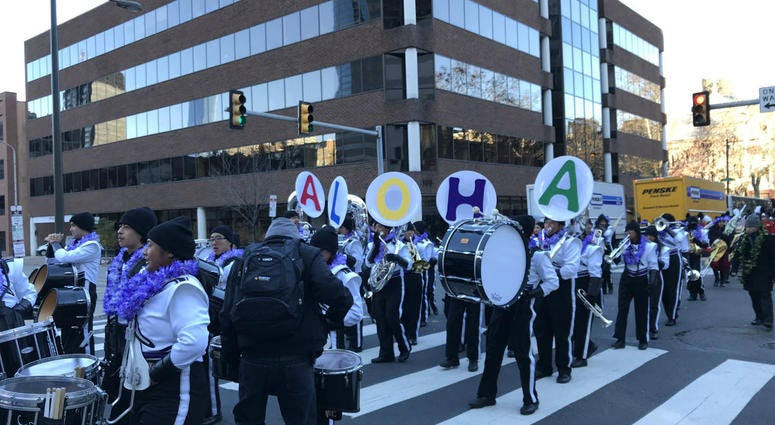 You know who must be really cold? This marching band from Hawaii!