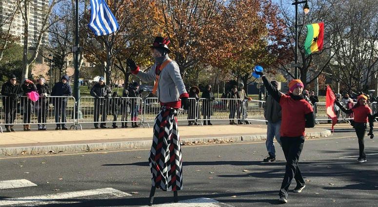 A stilt-walker at the 2018 Philadelphia Thanksgiving Day Parade