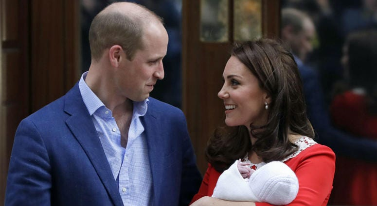 In this Monday, April 23, 2018 file photo, Britain's Prince William and Kate, Duchess of Cambridge pose for a photo with their newborn baby son as they leave the Lindo wing at St Mary's Hospital in London.